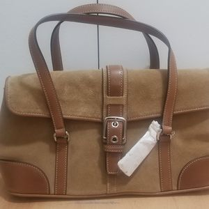 Coach Hamilton Tan Suede Small Flap Satchel Bag